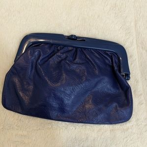 Vintage Made in Italy Blue Leather Clutch Wallet